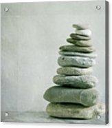 River Pebble Stone Pile Acrylic Print by Paul Grand Image