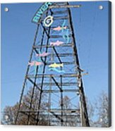 River Walk Tower Sign In West Sacramento California . 7d11400 Acrylic Print by Wingsdomain Art and Photography