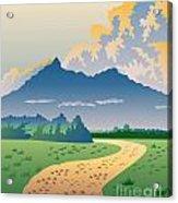 Road Leading To Mountains Acrylic Print by Aloysius Patrimonio