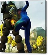 Robot Fighter V2 Acrylic Print by Michael Knight