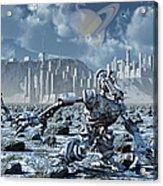Robots Gathering Rich Mineral Deposits Acrylic Print by Mark Stevenson