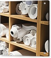Rolls Of Blueprints In Cubbyholes Acrylic Print by Jetta Productions, Inc