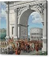 Roman Soldiers Lead Chained Captives Acrylic Print by H.M. Herget