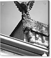 Rooftop Gargoyle Statue Above French Quarter New Orleans Black And White Diffuse Glow Digital Art Acrylic Print by Shawn O'Brien