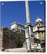 Rostra. Column Of Phocas And Septimius Severus Arch In The Roman Forum. Rome Acrylic Print by Bernard Jaubert