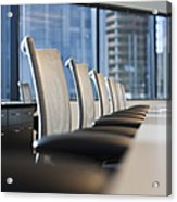 Row Of Chairs And A Table In A Conference Room Acrylic Print by Jetta Productions, Inc