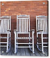 Row Of Rocking Chairs Acrylic Print by Skip Nall