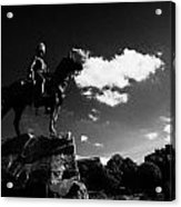 Royal Scots Greys Boer War Monument In Princes Street Gardens With Edinburgh Castle In The Backgroun Acrylic Print by Joe Fox