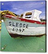 Rustic Fishing Boat Of Aruba II Acrylic Print by David Letts