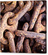 Rusty Anchor Chains In Key West Acrylic Print by Adam Pender