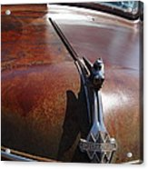 Rusty Old 1935 International Truck Hood Ornament. 7d15506 Acrylic Print by Wingsdomain Art and Photography