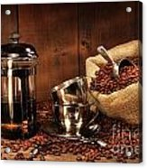Sack Of Coffee Beans With French Press Acrylic Print by Sandra Cunningham