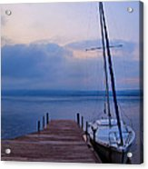 Sailboat And Dock Acrylic Print by Steven Ainsworth