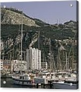 Sailboats Moored In Gibraltar Bay Acrylic Print by Lynn Abercrombie