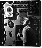 Sailor At Work In The Electric Engine Acrylic Print by Stocktrek Images