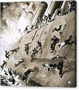 Sailors Escaping Hms Natal Which Caught Fire In Cromerty Firth In 1915 Acrylic Print by English School