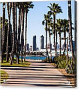 San Diego Skyline With Coronado Island Bayshore Bikeway Acrylic Print by Paul Velgos