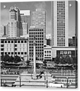 San Francisco - Union Square - 5d17938 - Black And White Acrylic Print by Wingsdomain Art and Photography