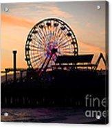 Santa Monica Pier Ferris Wheel Sunset Acrylic Print by Paul Velgos