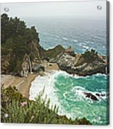 Seascape And Waterfall Acrylic Print by Gregory Scott