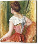 Seated Young Woman Acrylic Print by Pierre Auguste Renoir