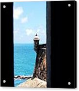 Sentry Tower View Castillo San Felipe Del Morro San Juan Puerto Rico Ink Outlines Acrylic Print by Shawn O'Brien