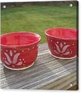 Set Of Small Red Bowls Acrylic Print by Monika Hood