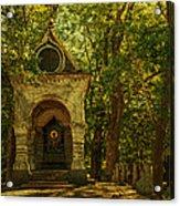 Shaded Chapel. Golden Green Series Acrylic Print by Jenny Rainbow