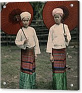 Shan Women Wearing Traditional Colorful Acrylic Print by W. Robert Moore