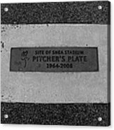Shea Stadium Pitchers Mound In Black And White Acrylic Print by Rob Hans