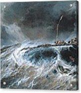 Shipwreck Acrylic Print by Louis Isabey