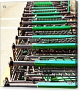 Shopping Carts Stacked Together Acrylic Print by Skip Nall