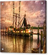Shrimp Boat At Sunset II Acrylic Print by Debra and Dave Vanderlaan