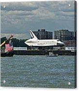 Shuttle Enterprise Flag Escort Acrylic Print by Gary Eason