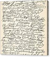 Signatures Attached To The American Declaration Of Independence Of 1776 Acrylic Print by Founding Fathers