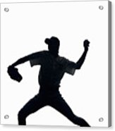 Silhouette Of Baseball Pitcher About To Pitch Acrylic Print by PM Images