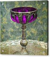 Silver Chalice With Jewels Acrylic Print by Jill Battaglia