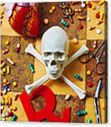 Skull And Bones With Medical Icons Acrylic Print by Garry Gay
