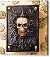 Skull Box With Skeleton Key Acrylic Print by Garry Gay