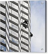 Skyscraper Window-washers - Take A Walk In The Clouds Acrylic Print by Christine Till