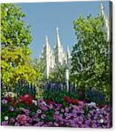 Slc Temple Flowers Acrylic Print by La Rae  Roberts
