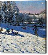 Sledging Near Youlgreave Acrylic Print by Andrew Macara