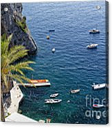Small Boats And A Palm Tree Acrylic Print by George Oze