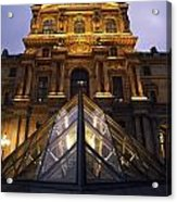 Small Glass Pyramid Outside The Louvre Acrylic Print by Axiom Photographic