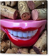 Smile Among Wine Corks Acrylic Print by Garry Gay