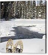 Snowshoes By Snowy Lake Lake Louise Acrylic Print by Michael Interisano