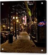 Snowy Downtown Acrylic Print by Laurianna Murray