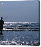 Solitary Angler Acrylic Print by Skip Willits