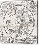 Southern Hemisphere Star Chart, 1537 Acrylic Print by Middle Temple Library