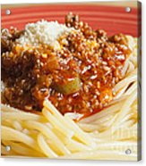 Spaghetti Bolognese Dish Acrylic Print by Andre Babiak